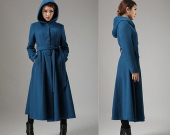 Blue coat, wool coat, swing coat, womens coat, long coat ,hooded coat, trench coat, dress coat, ladies clothing, winter coat, Gift (739)