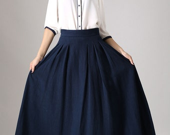 Circle skirt, maxi skirt, full skirt, plus size skirt, long skirt for women, pleated skirt, navy skirt, elegant skirt, custom, plus size 855