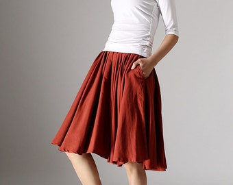 Red skirt ,Midi Skirt ,linen skirt, pleated skirt ,pocket skirt,mini skirt, skater skirt, womens skirts, fall clothing, mod clothing (978)