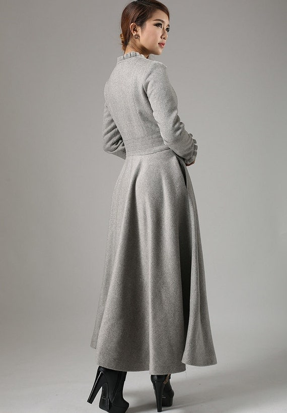 grey wool coat long trench coat button coat with ruffle