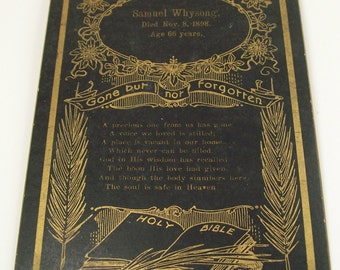 Funeral Card Memoriam Memorial Mourning Black Gold 1898 Death Antique