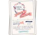 Navy and Coral Bridal Shower Invitations • Shabby Chic Vintage Wedding Shower Invites • SET OF 10 \\you can change the colors\\ Reina design