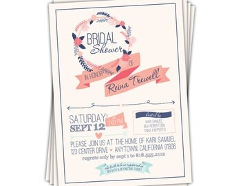 Navy and Coral Bridal Shower Invitations • Shabby Chic Vintage Wedding Shower Invites • PRINTED on CARDSTOCK