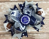 Dallas Cowboys NFL Football OTT Hair Bow - Blue and Silver - Perfect for Infants, Toddlers, Big Girls and Teens, Baby headbands, Sports