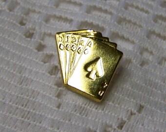 Gambler Gold Tie Tack - Gambler Lapel Pin - Gold Cards Tie Tac - Poker - Straight - Deck of Cards - Gambler - Dealer - Vegas