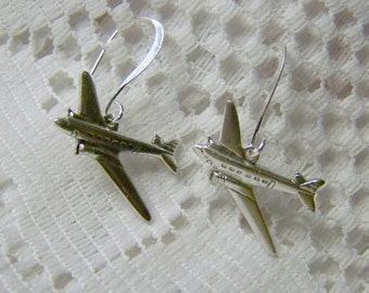 Airplane Earrings - Aviation - Airplanes - Jets - DC-3 - Flying Airplane - Airline Pilot - silver plated surgical steel - French Style