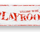 Playroom Rustic Wooden sign 6x18