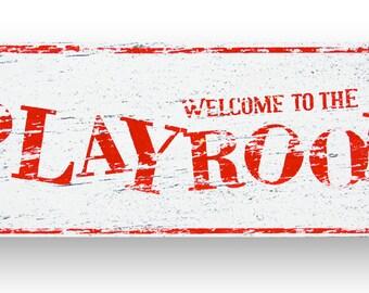 Playroom Rustic Wooden sign 6x18