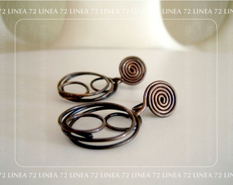 Mid Century Modern Artisan Made Copper Hoop Earrings
