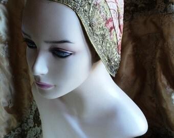 FINAL SALE Antique French Cap Metallic Silk Brocade Torchon lace Trim Rare Collector 19th C Museum Quality