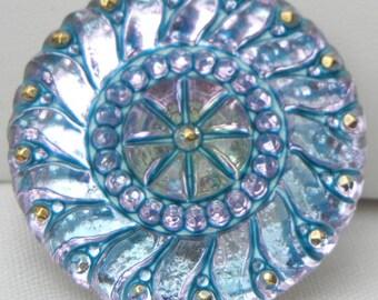 Large Sun Czech Glass Button