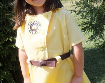 Racine Belles Kitt,  A League of Their Own Inspired Yellow Vintage Baseball Dress, Brown Belt & Front Patch, Size 6/9, 12 or 18 month