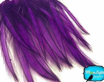 Love Drop Feathers, 10 Pieces - PURPLE Laced Long Rooster Cape Feathers : 3347