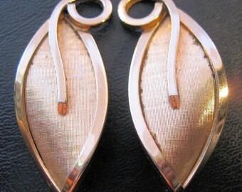 BARTEK Clip Earrings Gold Filled Leaf Mid Century Modern Vintage Jewelry