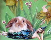 bunny rabbit animal art pet collage home decor wall hanging green buddha shabby chic tagt team