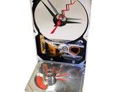 FREE SHIPPING! Hard Drive Clock with Red Hand-Painted Base Accents & Unusual Copper Motor Winding.