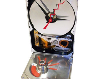 FREE SHIPPING USA! Hard Drive Clock with Red Hand-Painted Base Accents & Unusual Copper Motor Winding.