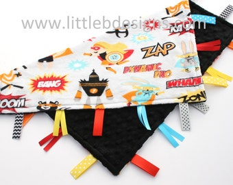 Superhero with Black Minky Tag Blanket  Boy Ribbon Lovey - Personalized