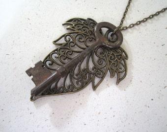 Vintage Skeleton Key & Filigree Leaf Necklace - Antique Key, Antique Brass Metal, Rust Browns Neutrals. Handmade Necklace