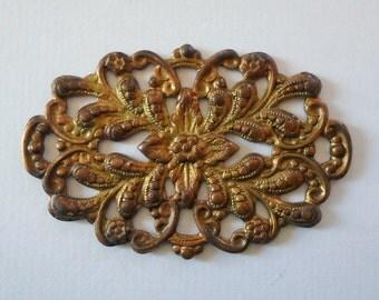 Vintage Oxidized Brass Floral Filigree Finding