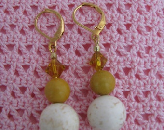 Mother Earth Earrings with Marble and yellow quartz beads