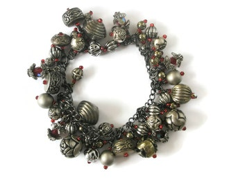 Red Bracelet Gothic vintage beads silver charm Recycled Jewellery Charm