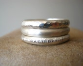 Rustic Mens or Womens Ring Sterling Silver - Hammered or Smooth - Half Round Band - Custom chose your size and finish