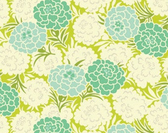 SALE!!! 1 yard...Mum toss.. in chartreuse..Up Parasol by Heather Bailey.. Green/chartreuse colorway
