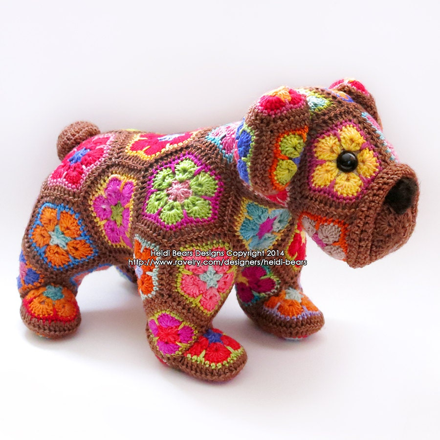 Crochet African Flower Animal Patterns : Max the African Flower Bulldog crochet pattern