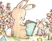 Let's Read a Story. PRINT 8X10. Children Art Nursery Decor