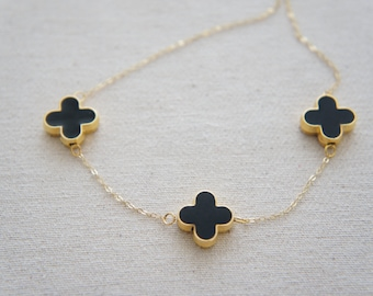 3 Black clover necklace, love, friendship, holiday, anniversary gift, lucky charm, layered necklace, trendy