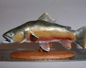 Miniature 1/12 scale Trophy Arctic Char Fish Woodcarving