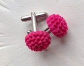 Resin flower cufflinks - Fuchsia