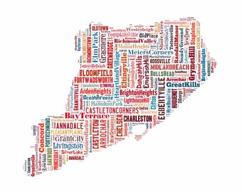 Staten Island New York Map Typography Color Map Poster Print
