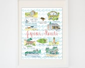 Original Jupiter, Florida Art -- Watercolor Florida Souvenir Print -- State Landmarks