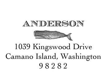 Nautical Whale Return Address Stamp