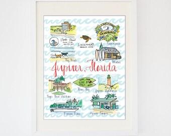 Original Jupiter, Florida Art -- Watercolor Florida Souvenir Print -- State Landmarks