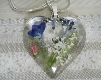 Blue Lobelia, Pink & Blue Veronica, Queen Anne's Lace Pressed Flower Glass Heart Pendant-Gifts Under 30-Symbolizes Loyalty,Peace