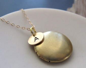 Gold Initial Necklace Locket, Small Gold Locket, Gold Filled Chain, Personalized Jewelry Hand Stamped Initial - MONOGRAM