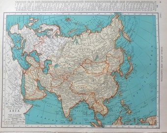 vintage 1941 map of Asia - gorgeous colors - Eastern Europe