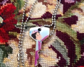 Disney's Mary Poppins Altered Art Key Necklace