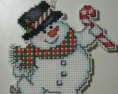 Cross Stitched SNOWMAN 2013 No. 5 CHRISTMAS ORNAMENT