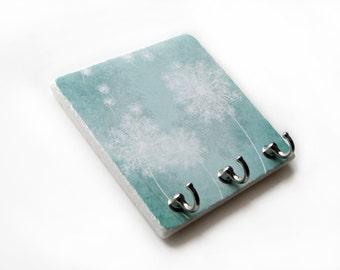 Teal Blowing Dandelion Key Rack, Key Hook Hanger, Wall Hooks, Jewelry Hooks Blue Green Home Decor, Key Holder