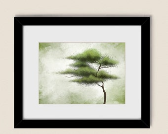 5 x 7 Tree Art Nature Green Wall Decor, Living Room Artwork for Home, Bedroom Wall Art (130)