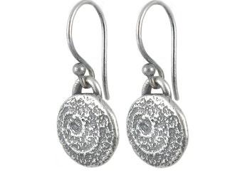 Silver Spiral Earrings - Oxidized Silver Earrings - Small Round Earrings - Desert Sun Earrings - Artisan Earrings (ES-SPL-B)