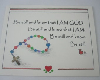Be Still and Know that I AM GOD Prayer/Scripture Card - A Set of 5 Folded Cards with Envelopes