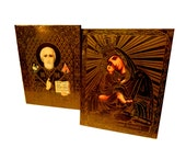 Heavenly Vintage. Pair of Old Russian Icon Reproduction / Memento / Souvenirs. Circa 1940s. Blessed Mother with Baby Jesus, St. Nicholas.