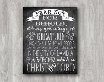 Luke 2 printable christmas chalkboard typography art printable