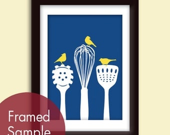 Birds on a Pasta Ladle, Spatula & Whisk (Series B) Art Print (Hotel Towel and Sunshine) Kitchen Utensil Prints (Customizable Colors)