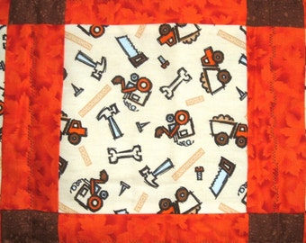 Quilt for Boys with Tools and Construction Trucks in Brown and Orange Baby Boy Blanket